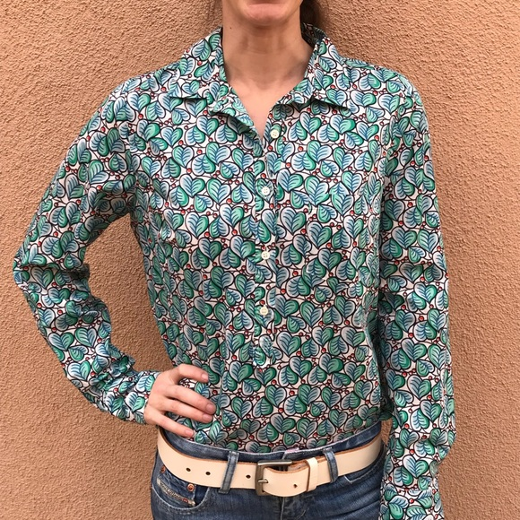 J. Crew Tops - J. Crew Holly Ivy Red & Green Collared Blouse Top